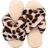 LongBay Women's Fuzzy Faux Fur Cross Band Slide Slippers in Leopard Print