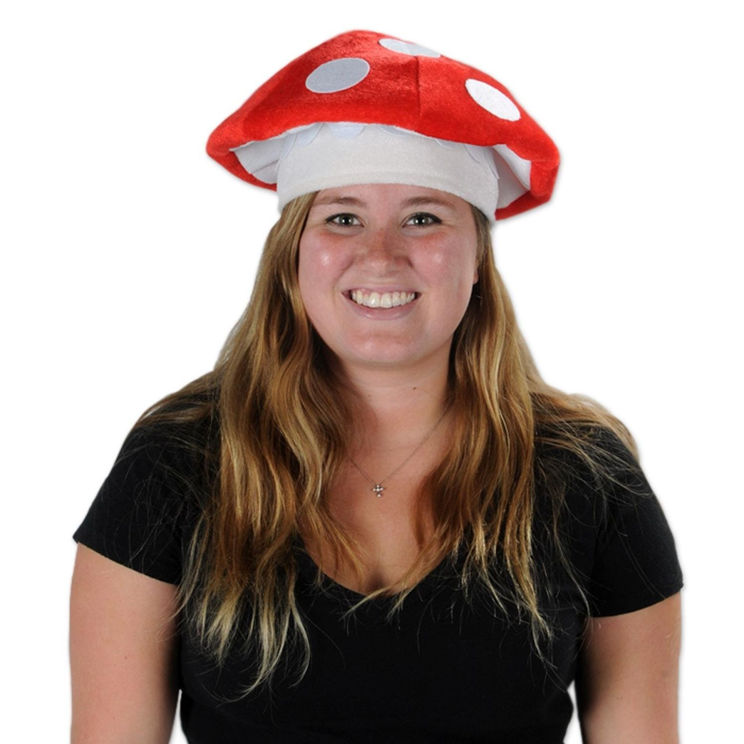 Club Pack of 12 Adorable 80's Night Red and White Plush Mushroom Party Hats by Party Central