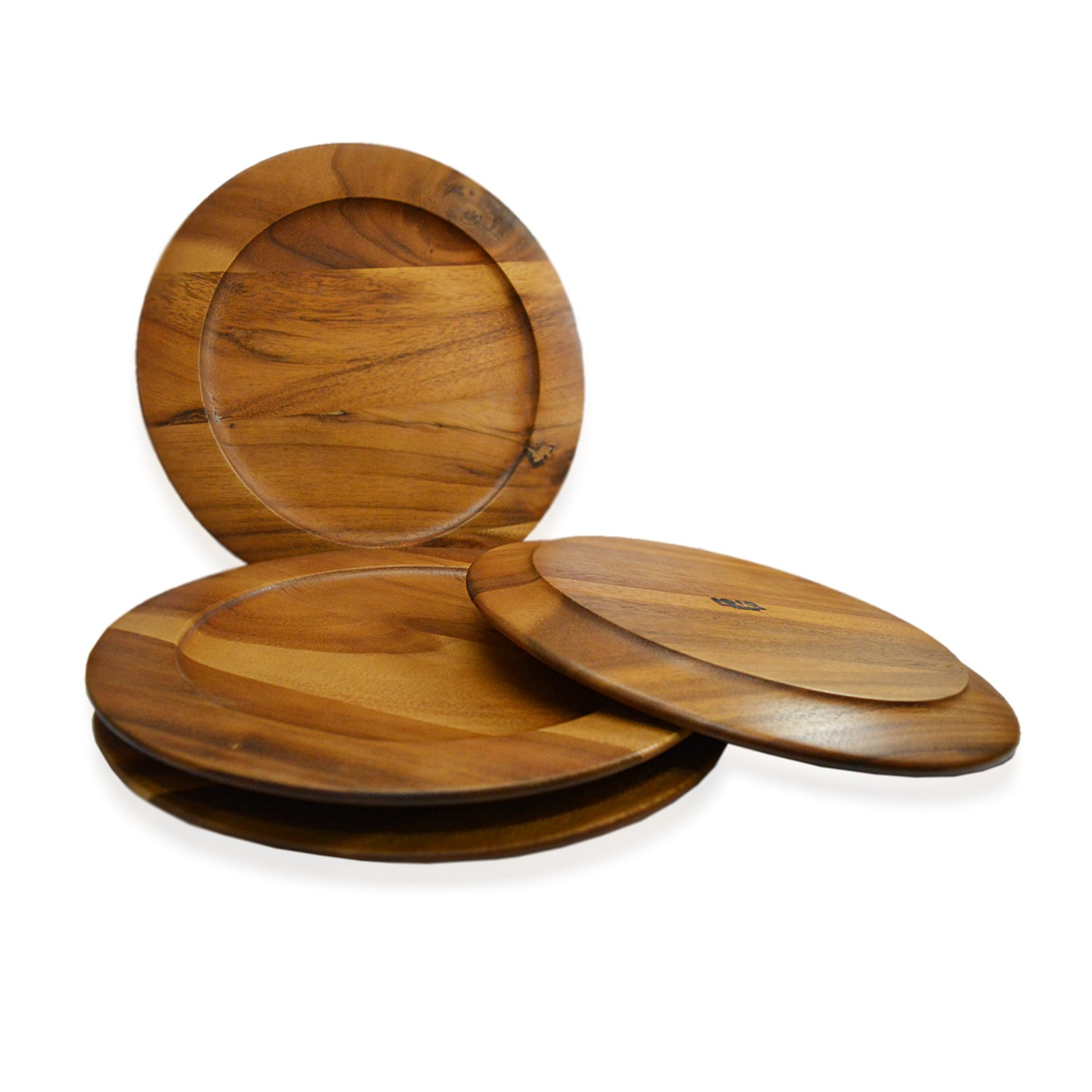 RoRo Classic Wood Charger Plates in Oak Stain Set of 4, 12 Inch Pankesum RRoWdPlt12