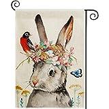DOLOPL Fall Garden Flag 12.5x18 Inch Double Sided Decorative Watercolor Bunny Flowers Bird Eggs Nest Small Yard House Garden