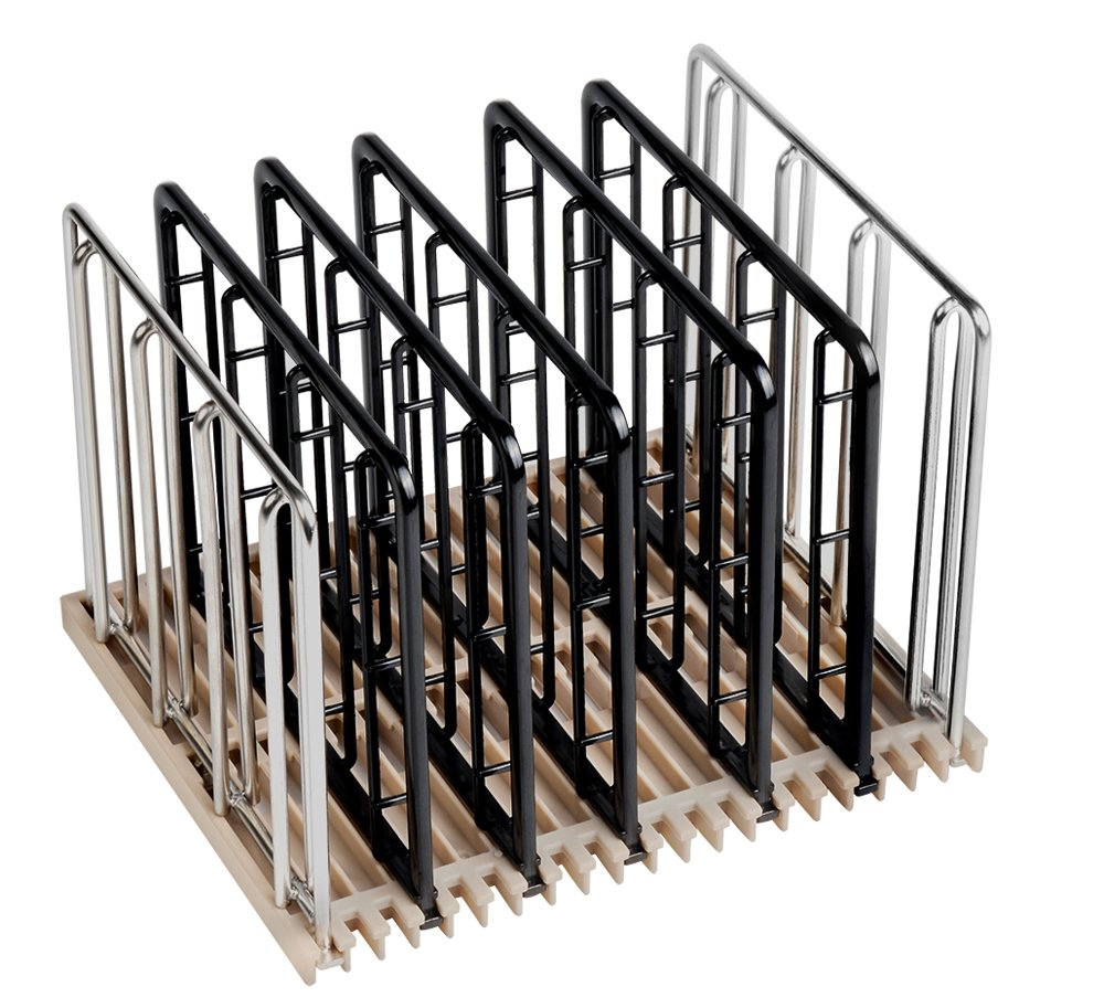 EVERIE Weight-Added Sous Vide Rack Divider for Sous Vide Even Heating, 5 Count Plastic Dividers and 2 Stainless Steel Sous Vide Weights, Black