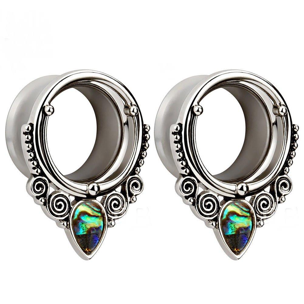 Sea-shell Stainless Steel Ear Plugs Tunnels Gauges Stretcher Teardrop Dangle Piercings Jewelry (1''(25mm))