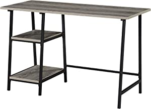 Convenience Concepts Designs2Go Trestle Wood Metal Desk, Weathered Gray/Black