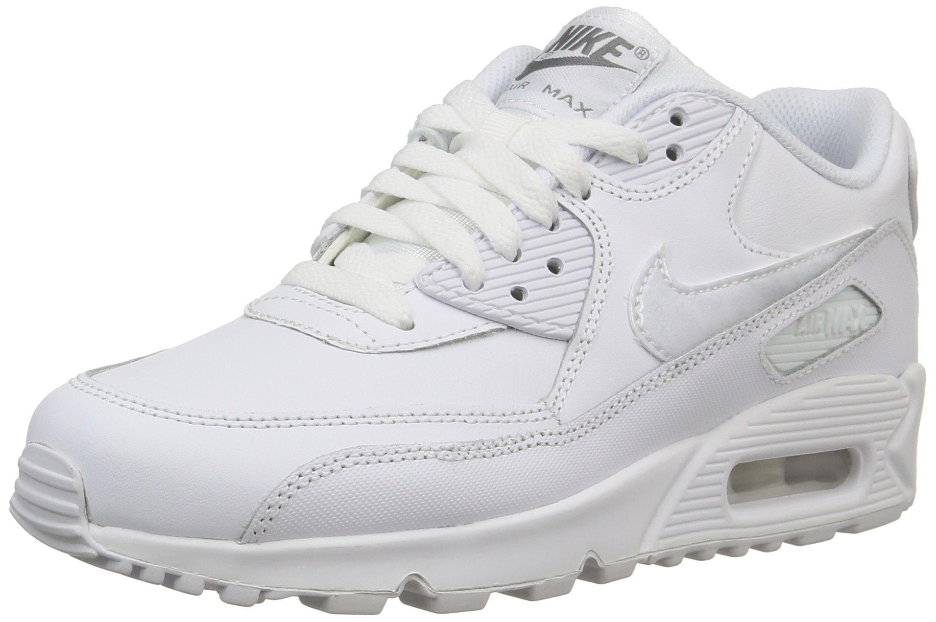 Nike Kids Air Max 90 LTR Running Shoe WhiteCool GreyWhite 6.5Y
