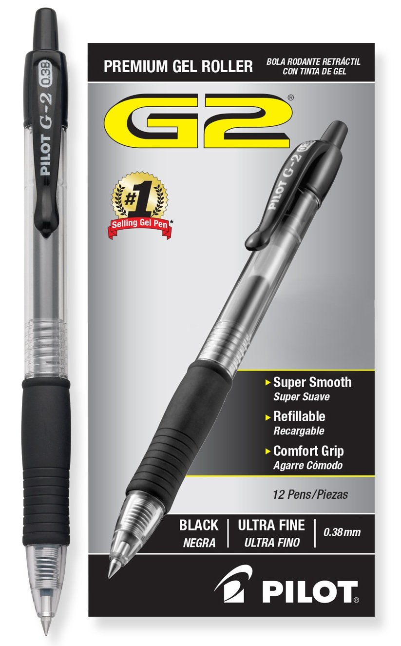 Pilot G2 Retractable Premium Gel Ink Roller Ball Pens Ultra Fine Dozen Box Black ; Retractable, Refillable & Premium Comfort Grip; Smooth Lines to the End of the Page, America's #1 Selling Pen Brand