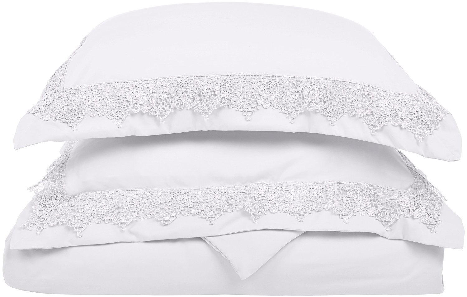 Super Soft Light Weight, 100% Brushed Microfiber, Full/Queen, Wrinkle Resistant, White Duvet Set with Regal Lace Pillowshams in Gift Box