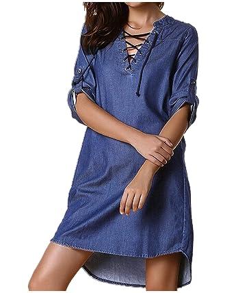 82f3b0c1b419 StyleDome Femme Chemise Mini Robe Jean Coton Tunique Longues Large Manches  3 4 Col V