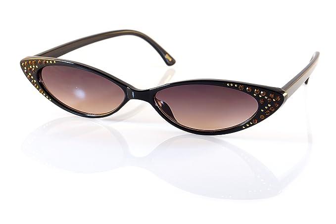 1f54e5685fbef FBL  90s Vintage Extreme Wide Slim Rhinestone Cat-Eye Sunglasses A202 (Black  Purple