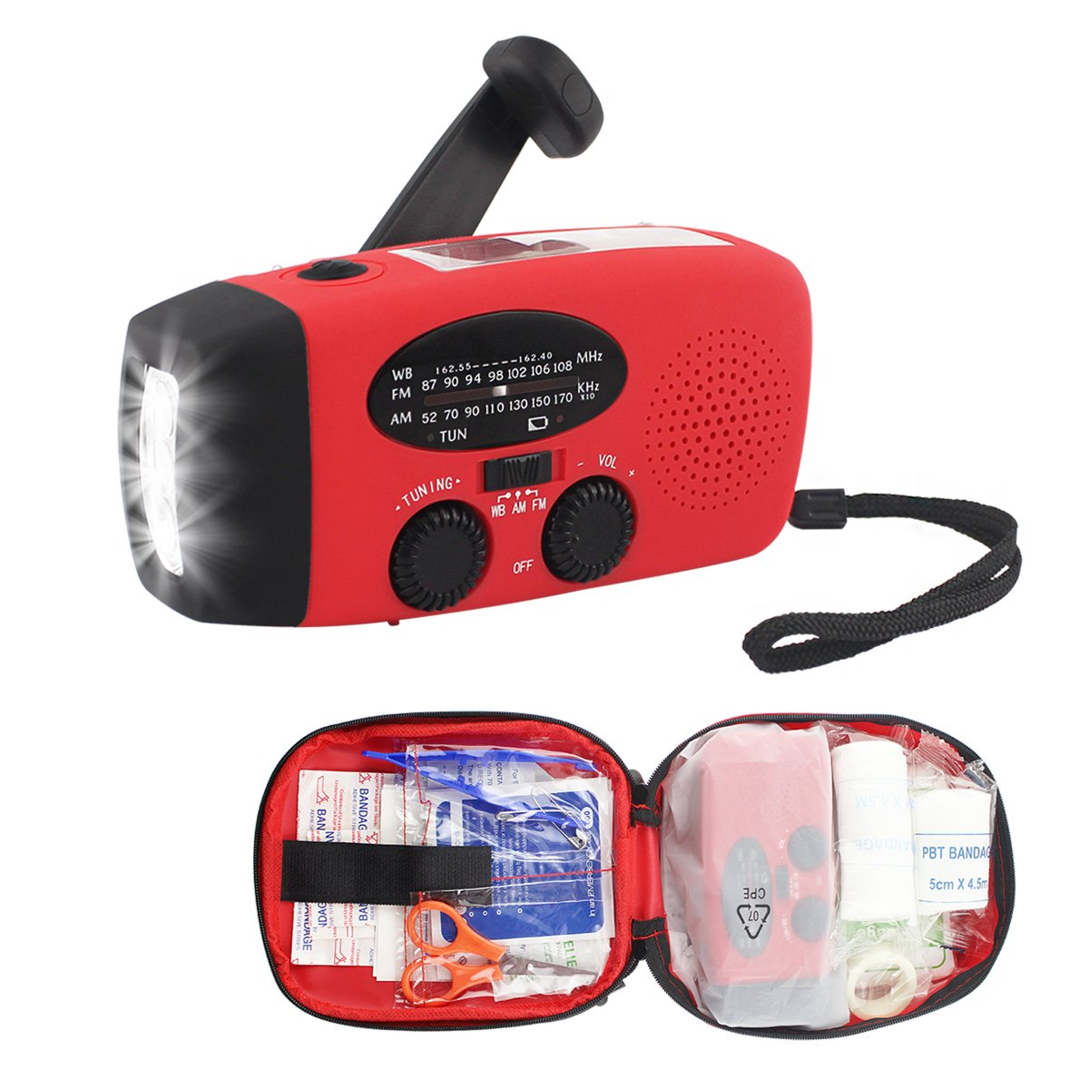 (2018 Version) FUNHOUR Hand Crank Emergency NOAA Weather Radio Self Powered Solar Dynamo AM FM Radios kit with 3 LED Flashlight 1000mAh Portable Smart Phone Charger Power Bank(Two Packaging Option)