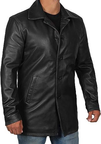Super Camel 1501484 Decrum Mens Brown Leather Jacket Men Car Coat Mens Leather Jacket   L