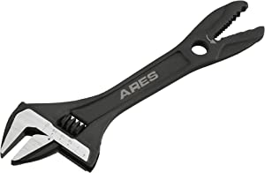 ARES 79007 - 8-Inch Adjustable Alligator Wrench - 1 1/4-Inch Jaw Capacity - Chrome Vanadium Steel Construction - Alligator Head for Pipes and Rounded Off Fasteners