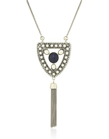 af03e30e7 Lucky Brand Women's Lapis and Pearl Pendant Necklace, Silver, One Size