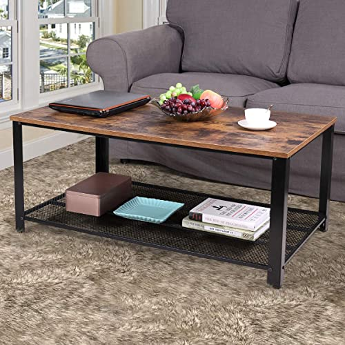 JAXPETY 2-Tier Industrual Wood Coffee Table