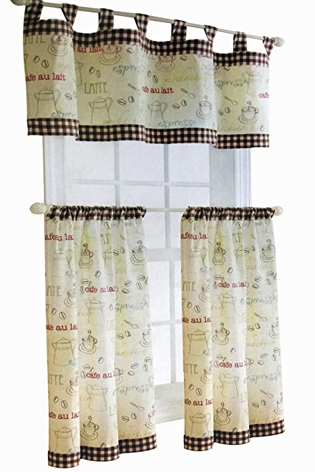 Kitchen Curtain And Valance Set Part - 18: SKYLINEWEARS Kitchen Curtain Valance 3 Piece Tap Top Tiers u0026 Valance Set  Café