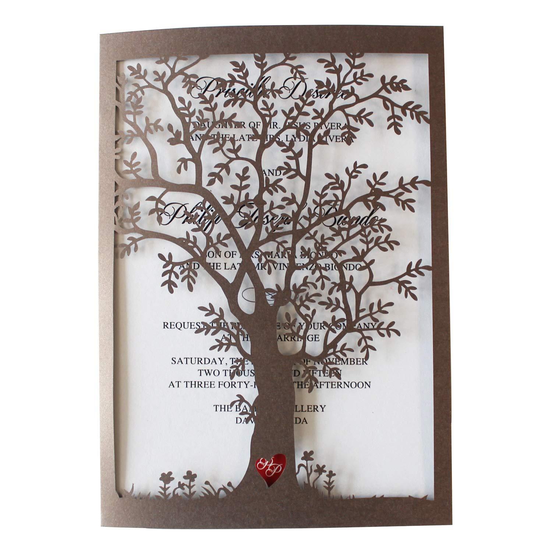 30Pcs Old Tree Wedding Invitations with Envelopes, Vintage Invitations Cards, Metallic Paper Laser Cut Invitation (30)