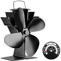 Ventilateur pour poele -- Sonyabecca 4 pales silencieux alimenté par la chaleur, pour poêles à bois et cheminées. Écologique. [Classe énergétique A+++]