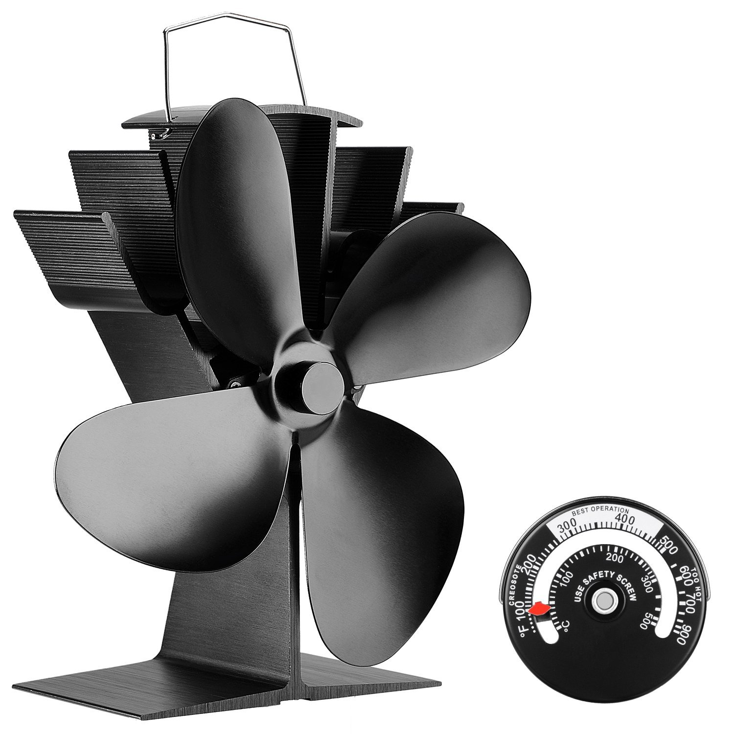 Silent Operation 4-Blade Heat Powered Stove Fan for Wood/Log Burner/Fireplace - Eco Friendly JKsmart [Energy Class A+++]