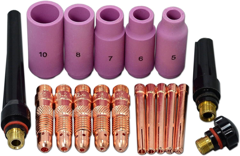 ZunBo 17pcs TIG Couvercle Tension Tail Cap et 2/% Ensemble d/électrodes de tungst/ène TIG pour Lanthanated pour DB WP 17 18 26 Torche de soudage TIG