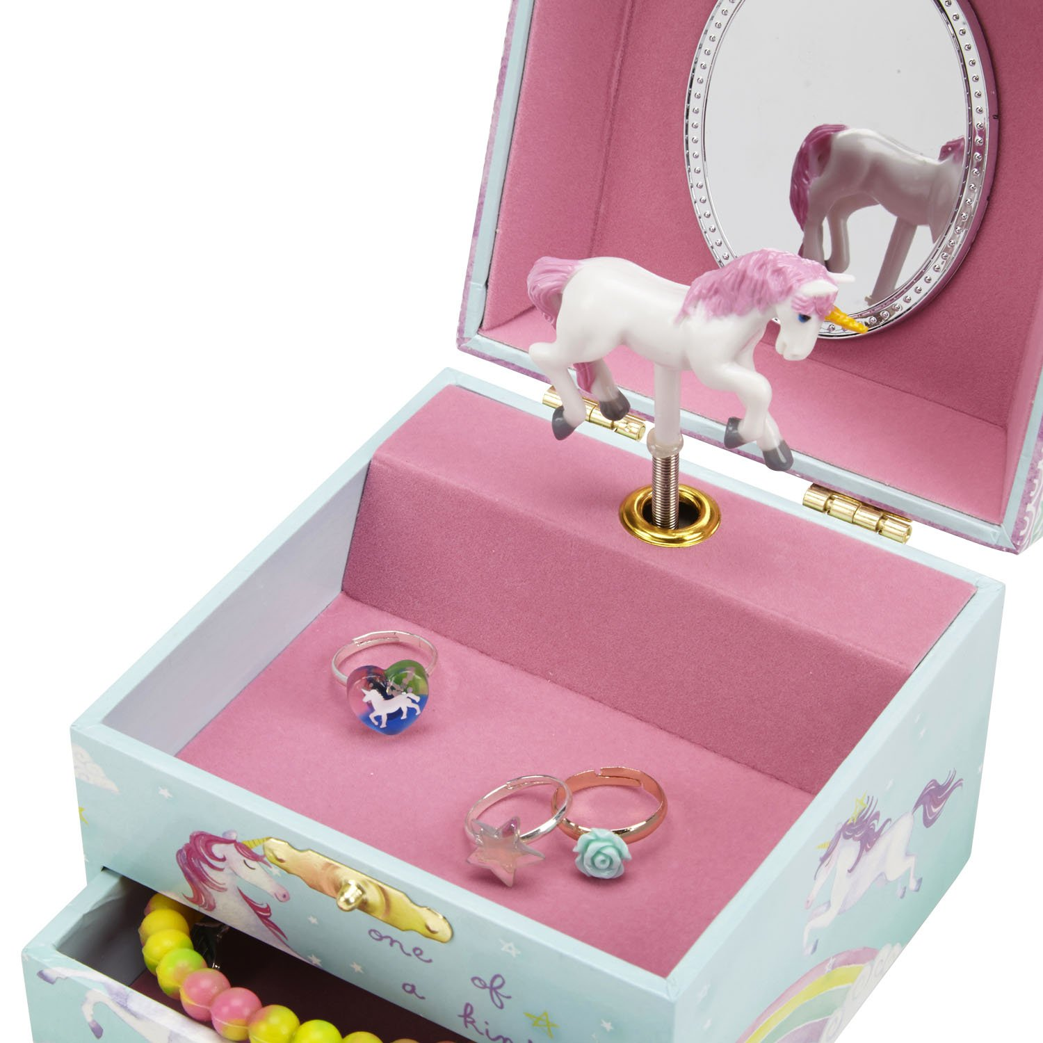 JewelKeeper Musical Jewelry Box, Unicorn Rainbow Design with Pullout Drawer, The Unicorn Tune by JewelKeeper (Image #3)
