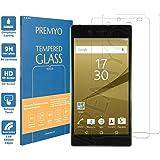 PREMYO [2 Pezzi] vetro temperato Sony Z5 Premium. Pellicola vetro temperato Xperia Z5 Premium con una durezza di 9H e bordi arrotondati da 2,5D. Pellicola in vetro Z5 Premium