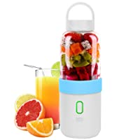 Itian Portable Juicer Cup, Portable Rechargeable Electric Juice Blender Mixer Personal Smoothie Maker 6 Blades, 550ml, bleu