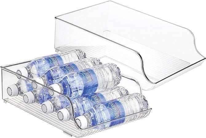 transparent mDesign range-bouteilles en plastique support /à bouteilles pour stockage de 9 bouteilles d/'eau et autres boissons pour plan de travail ou placard de cuisine