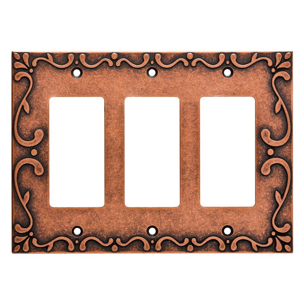Franklin Brass W35079-CPS-C Classic Lace Triple Decorator Wall Plate/Switch Plate/Cover, Sponged Copper