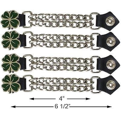 Motorcycle Dark Green 4 Leaf Clover Double Button Chain Vest Extender (4 pcs per set): Automotive