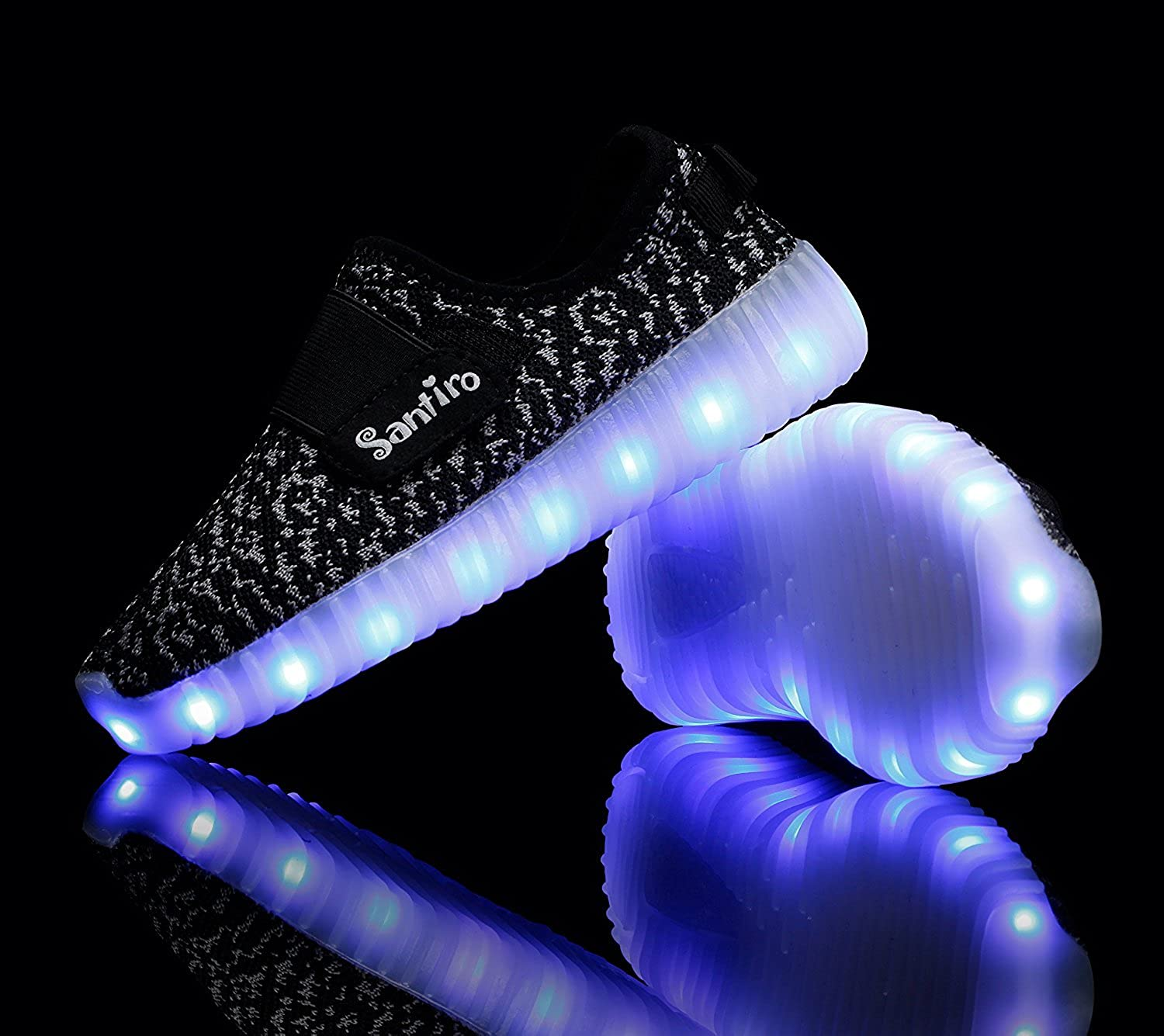 Toddler//Little Kid//Big Kid BlackGrey3 M US Little Kid Easy.Love Kids 7 Colors LED Light up Shoes for Boys Girls