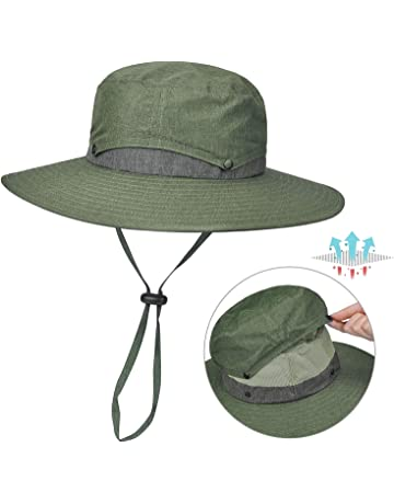 1200e57144c6 Unisex Wide Brim Sun Hat Safari Boonie Fishing Hat with Adjustable  Drawstring and Removable Bucket Crown