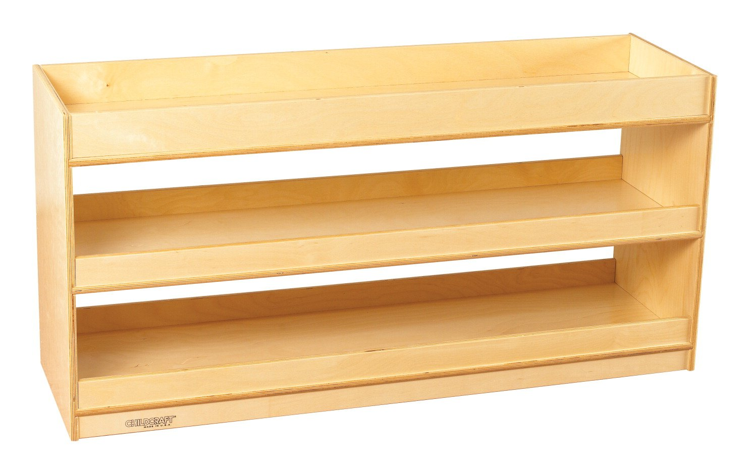 Childcraft 1464162 Mobile Open Storage Shelf with Well Top, Wood, 47-3/4'' x 14-1/4'' x 24'', Natural Wood Tone