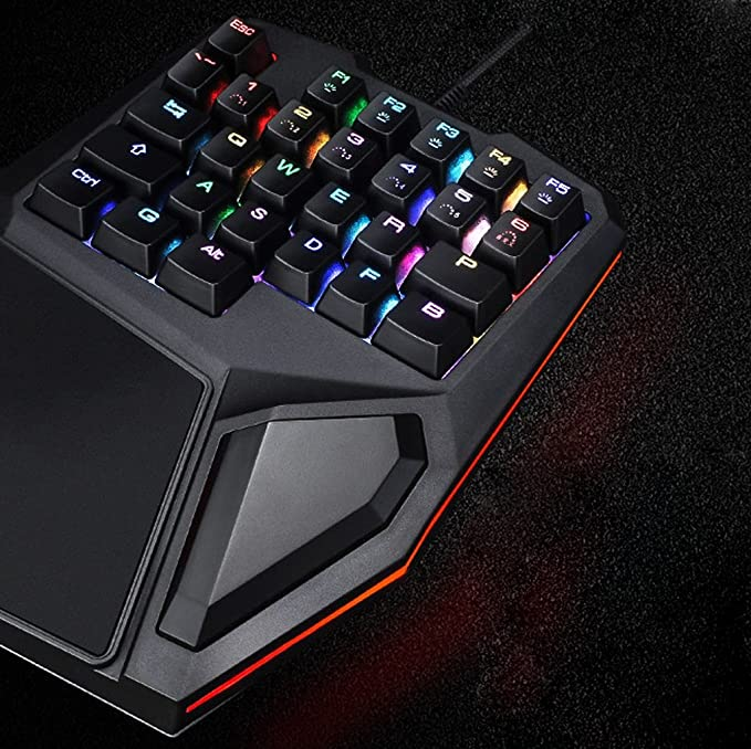 Amazon.com: Mingteng One-handed KeyboardGaming Keyboard, RGB LED Backlist Mechanical Keyboard With Removable Hand Rest For PC Gamer & Typing (Color ...