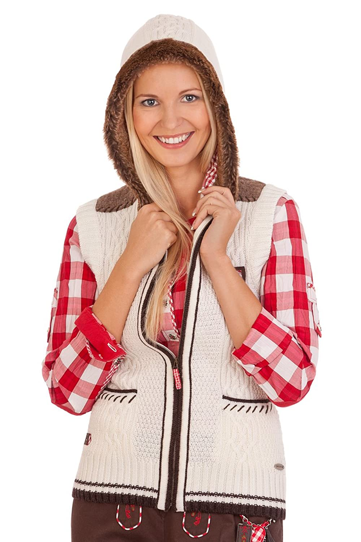 Damen Trachten Strickweste - RUFINA - denimblau, rot, wollweiß