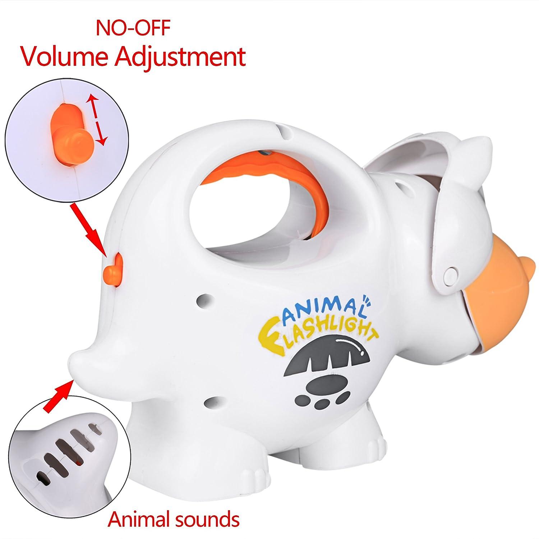 White Smibie Kinder Taschenlampen Tier Musik Licht Fackel Lernspielzeug mit Easy-Grip Griff