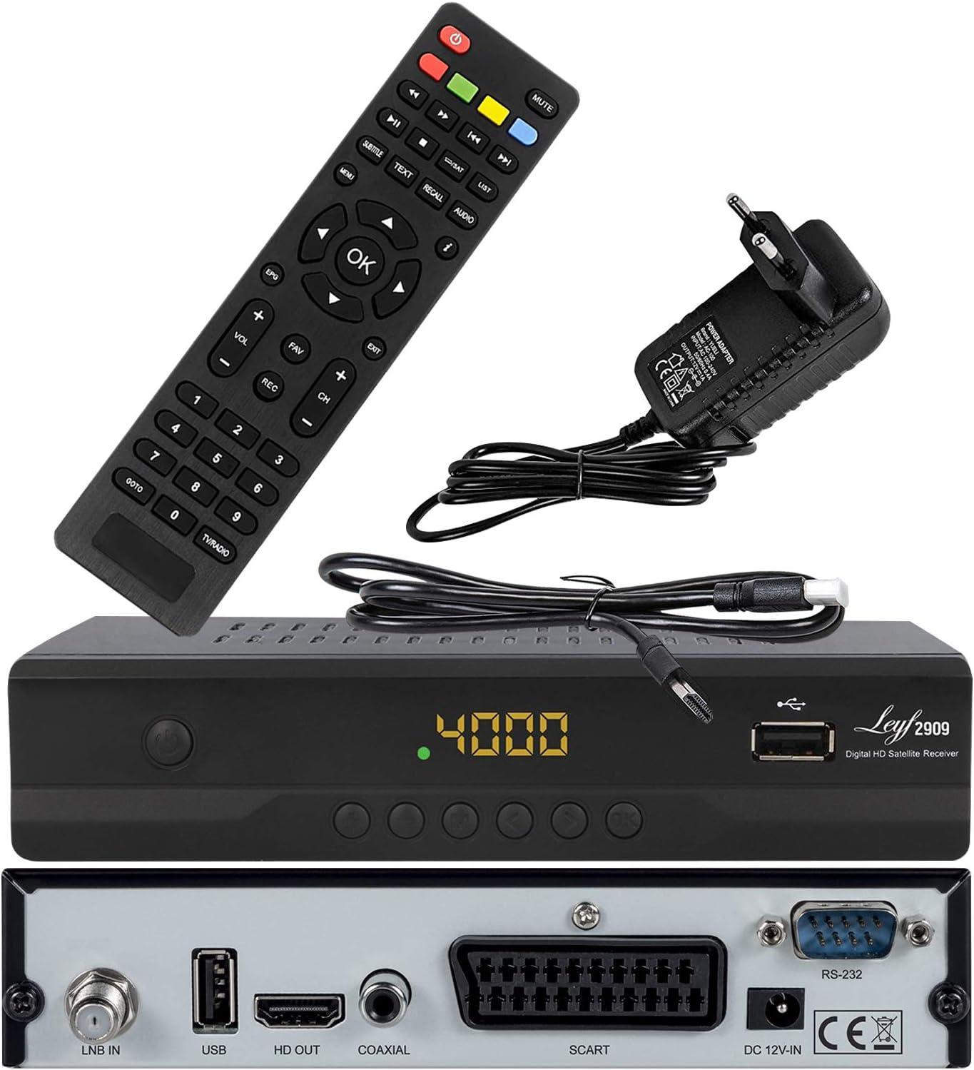 Leyf 2909 New Model - Receptor de satélite digital (HDTV, DVB-S/DVB-S2, HDMI, SCART, 2 puertos USB, Full HD 1080p) [preprogramado para Astra, Hotbird ...