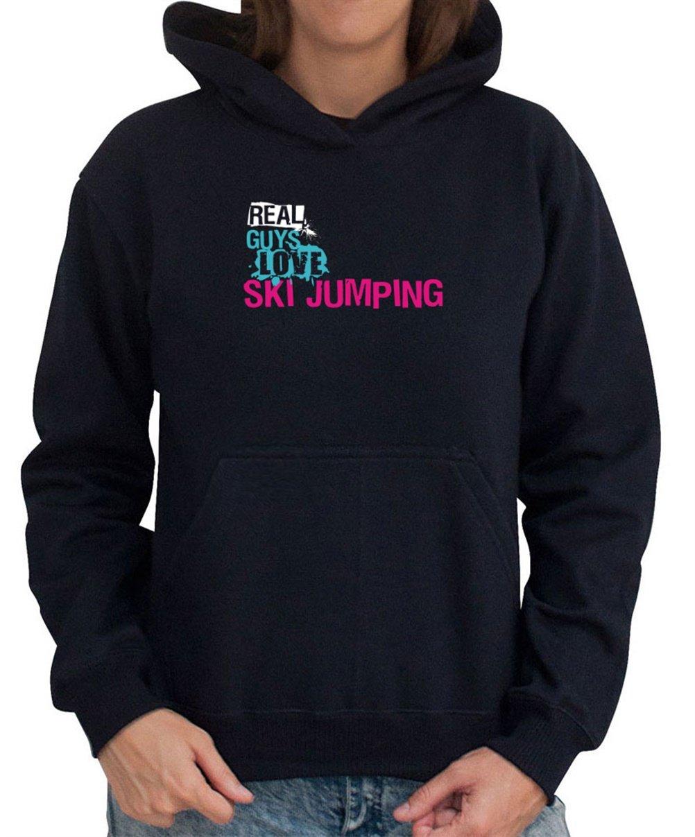 Real guys love Ski Jumping Women Dame Hoodie