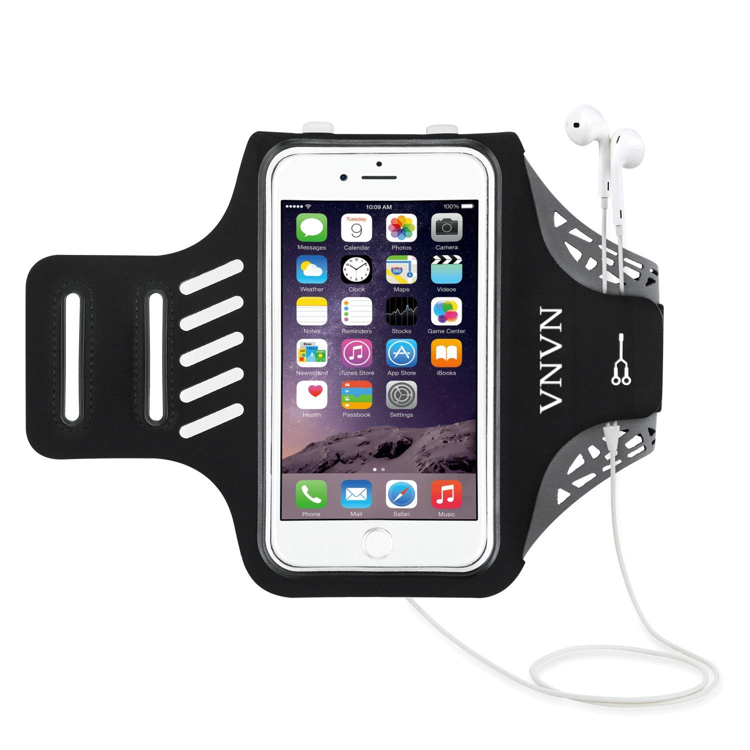 VNVN Water Resistant Sports Armband Arm Case Holder Compatible-iPhone Xs Max/8/7/6/6S Plus, Compatible-Galaxy S9/S8/S6/S5, S9 Plus, S8 Plus, Note 4 Bundle - Adjustable Reflective Velcro Workout Band by Flow.month