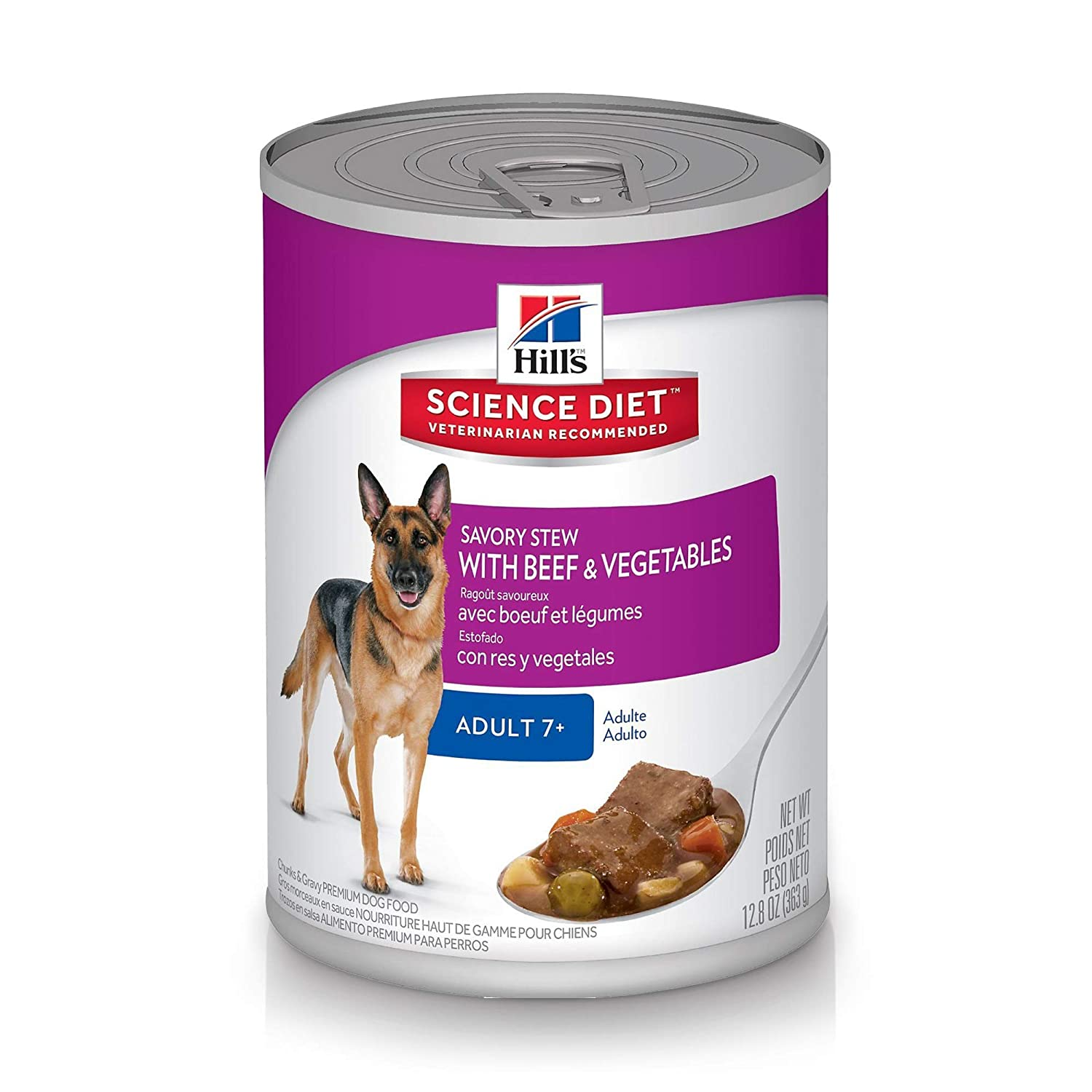 363g, 12 Pack Hill's Science Diet Senior Wet Dog Food, Adult 7+ Savory Stew with Beef & Vegetables Canned Dog Food, 363g, 12 Pack