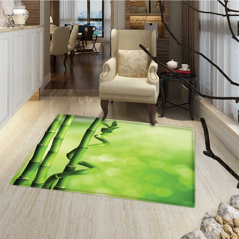 Green Floor Mat for kids Bamboo Stems Nature Ecology Sunbeams Soft Spring Scenic Spa Health Relaxation Bath Mat Bathroom Mat with Non Slip 30''x48'' Green Light Green