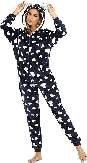 BERDITH Ladies Fleece All in One Piece Pyjamas Jump Sleep Suit Onesie PJS Nightwear Plus Size Winter