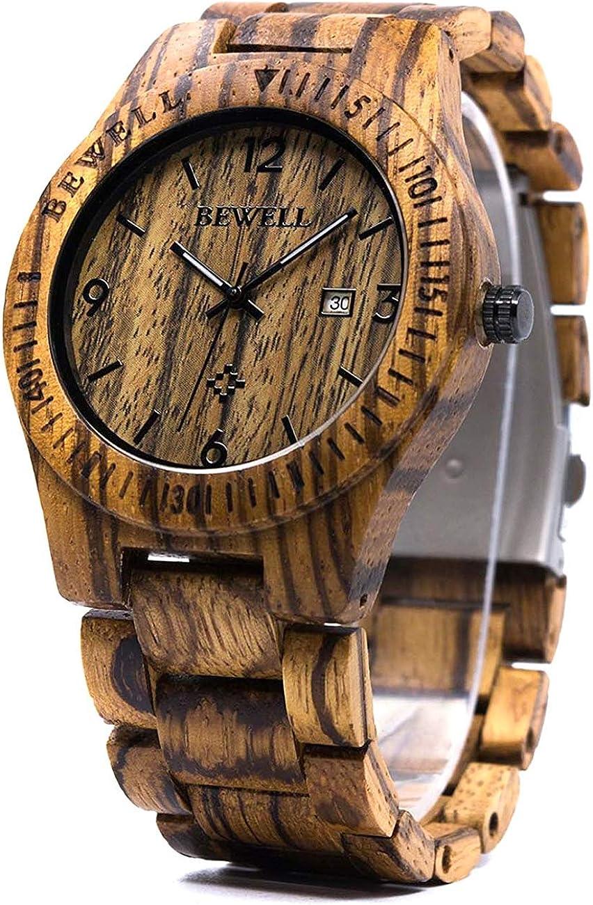 BEWELL Reloj de pulserBEWELL Reloj de Pulsera Casual para Hombres Reloj de Madera de Cuarzo analógico Natural Redondo con múltiples Funciones de Fecha