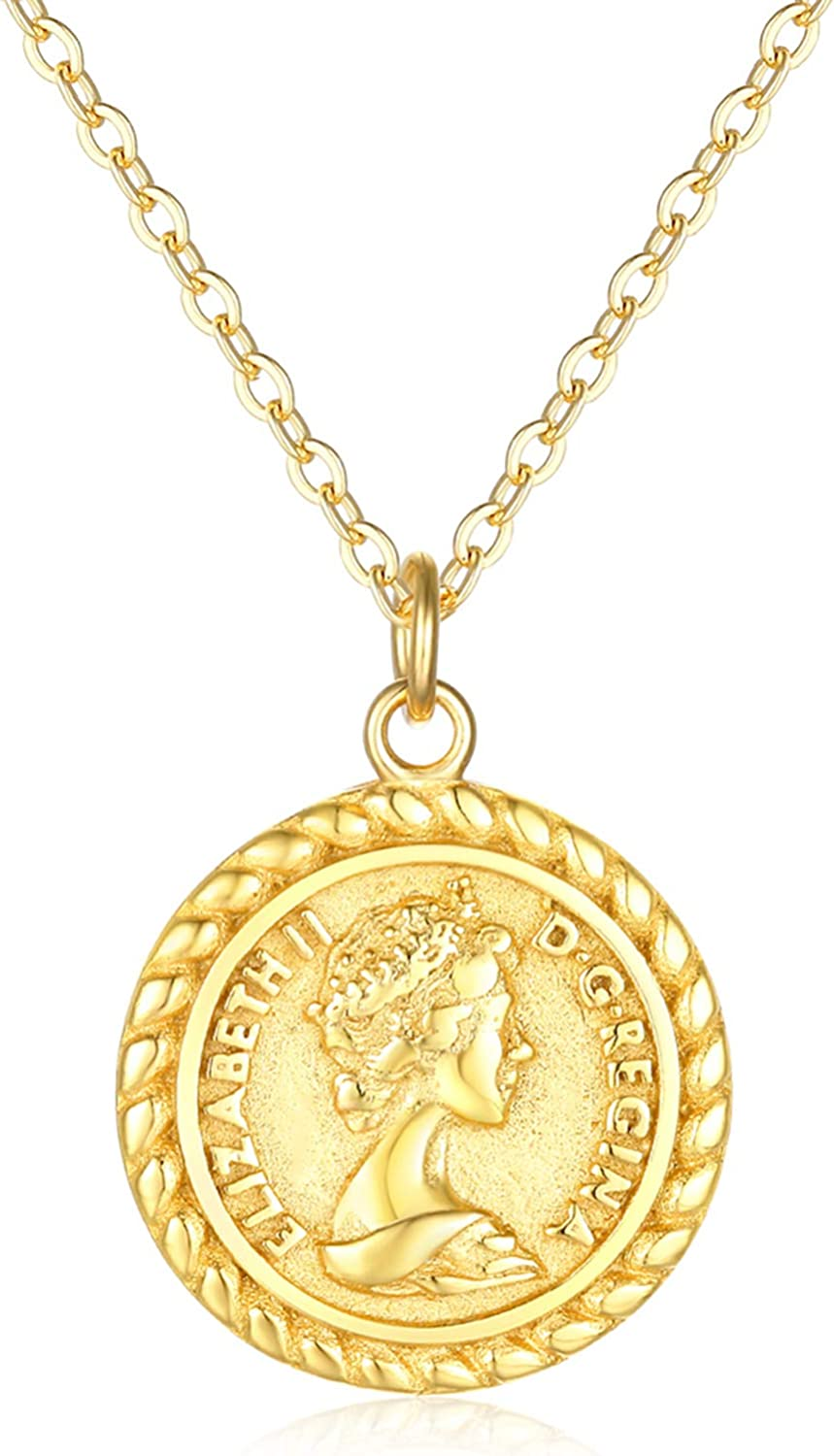 Amazon Com Vacrona Coin Necklace For Women 18k Gold Plated Vintage Coin Round Pendant Necklace Gold Layered Coin Choker Necklace Circle Disk Medal Textured Medallion Protection Dainty Jewelry Gift For Her Clothing