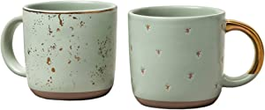 Hearth and Hand Magnolia Stoneware Mini Coffee Mug Speckled Light Green, 2-Piece Set (1)