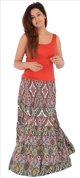 Skirts & Scarves Falda larga estampada de tele crepé multicolor ...