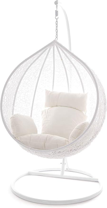 Rattanm/öbel Kideo/® Komplettset: H/ängesessel mit Gestell und Sitzkissen Lounge braun//wei/ß, t/ürkis, gebl/ümt Polyrattan Swing Chair Indoor /& Outdoor