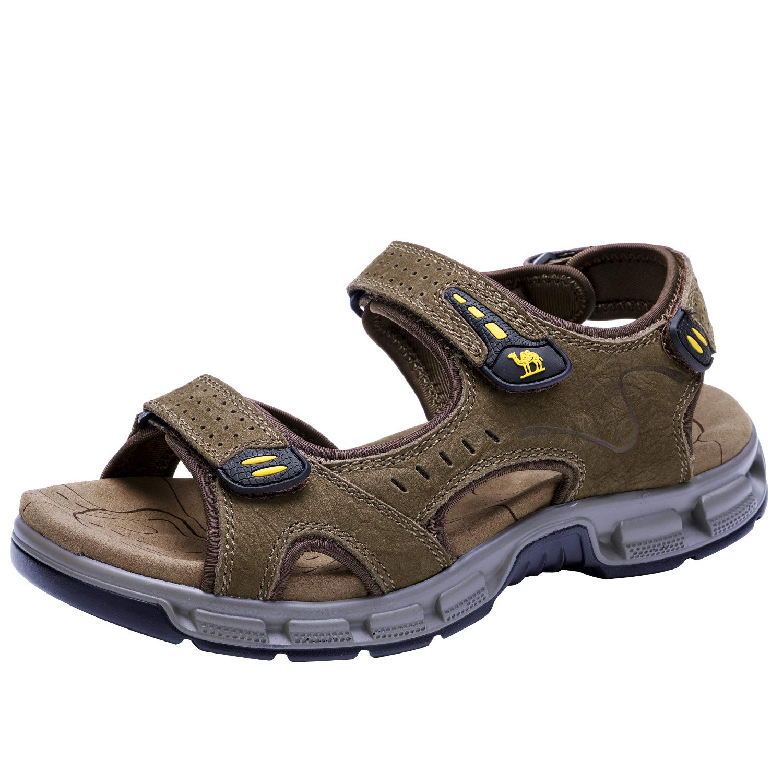 CAMEL CROWN Herren Outdoor Sports Sandalen Leder Trekking Strand Leichte Wandersandalen Sommer Männer Bequemer Offroad Sandale Schuhe Klettverschluss