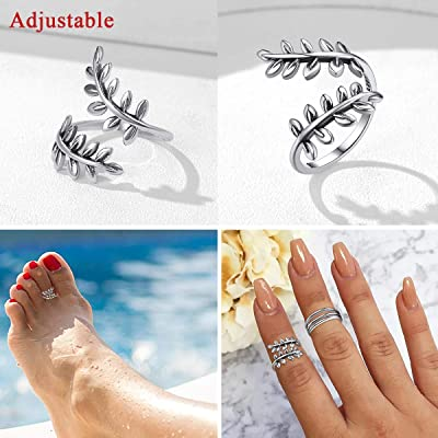 14K White Gold Over Daisy Flower Adjustable Size Toe Band Ring For Women/'s 2 PC