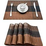 Top Finel umweltfreundlich Bambus PVC Platzmatten-Set Tischsets Platzdeckchen Tischmatte dekorativ Unterlage 30x45 cm 4er Set Braun und Schwarz