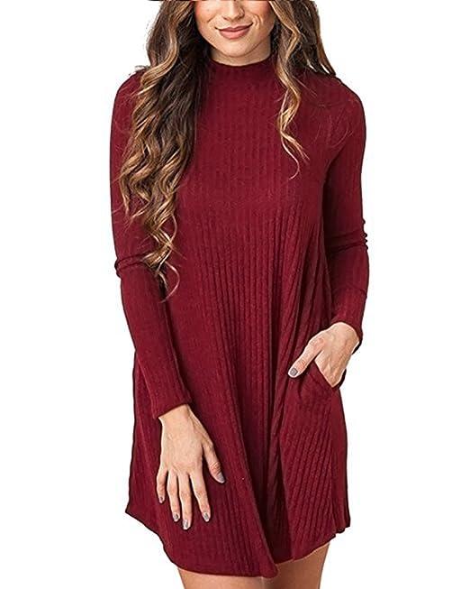 Cnfio Mujer Vestido Mangas Largas Blusa Suéter Cuello Alto Puente Bolsillo Moda Rojo M
