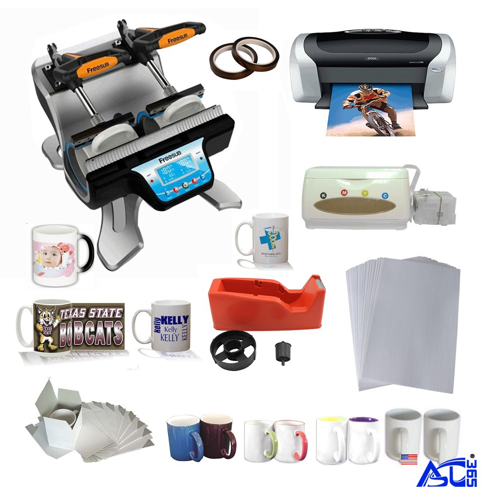 Double Station Mug Heat Press Machine with Epson C88 Printer CISS Two-Tone Sublimation Mug Startup Kit